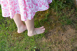 Close up of little girl's feet standing in the garden,