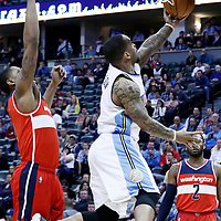 08 March 2017: Denver Nuggets guard Jameer Nelson (1) goes for the reverse layup during the Washington Wizards 123-113 victory over the Denver Nuggets, at the Pepsi Center, Denver, Colorado, USA.