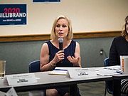 """24 MAY 2019 - WEST DES MOINES, IOWA: US Senator KIRSTEN GILLIBRAND (D-NY) chairs a community forum in the West Des Moines Public Library. Gillibrand unveiled her """"Family Bill of Rights"""" during a forum in West Des Moines. The New York Senator has made family health and rights a centerpiece of her campaign. She is touring Iowa this week to support her candidacy to be the Democratic nominee for the US Presidency. Iowa traditionally hosts the the first selection event of the presidential election cycle. The Iowa Caucuses will be on Feb. 3, 2020.           PHOTO BY JACK KURTZ"""