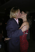 Simon Farquhar and Sophie Anderton, The 25th hour post party at the Plaza on the River, 18 Albert Embankment. Culmination of the 24 Hour Plays Celebrity Gala at the Old Vic.London. 8 October 2006.  -DO NOT ARCHIVE-© Copyright Photograph by Dafydd Jones 66 Stockwell Park Rd. London SW9 0DA Tel 020 7733 0108 www.dafjones.com
