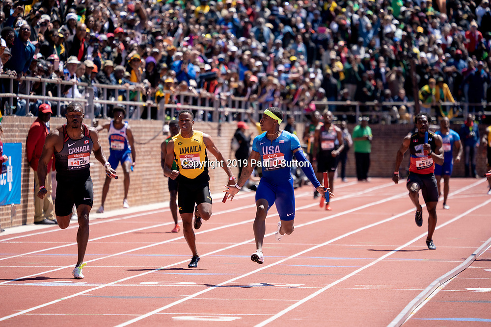 Mike Rogers (USA) competing USA vs the World Men 4x100m  at the 2019 Penn Relay .