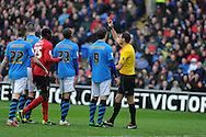 Nottingham forests Darius Henderson (9) is sent off by referee Andre Marriner. Npower championship, Cardiff city v Nottingham Forest at the Cardiff city stadium in Cardiff, South Wales on Saturday 13th April 2013. pic by Andrew Orchard,  Andrew Orchard sports photography,