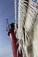 Icicles dangling from the lighthouse catwalk in South Haven.