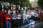 Crowds gather on the day that the new Conservative Party leader Theresa May MP became Prime Minister of the UK outside Downing Street on 13th July 2016 in London, United Kingdom.