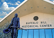 Buffalo Bill Statue and the front entrance to the Buffalo Bill Historical Center, Cody, WY