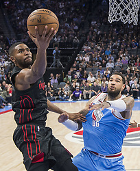 February 9, 2018 - Sacramento, CA, USA - The Portland Trail Blazers' Maurice Harkless, left, makes a basket as he's defended by the Sacramento Kings' Willie Cauley-Stein (00) at the Golden 1 Center in Sacramento Calif., on Friday, Feb. 9, 2018. (Credit Image: © Hector Amezcua/TNS via ZUMA Wire)