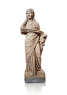 Roman statue of women. Perge. 2nd century AD. inv 3270 . Antalya Archaeology Museum; Turkey. Against a white background. .<br /> <br /> If you prefer to buy from our ALAMY STOCK LIBRARY page at https://www.alamy.com/portfolio/paul-williams-funkystock/greco-roman-sculptures.html . Type -    Antalya     - into LOWER SEARCH WITHIN GALLERY box - Refine search by adding a subject, place, background colour, museum etc.<br /> <br /> Visit our ROMAN WORLD PHOTO COLLECTIONS for more photos to download or buy as wall art prints https://funkystock.photoshelter.com/gallery-collection/The-Romans-Art-Artefacts-Antiquities-Historic-Sites-Pictures-Images/C0000r2uLJJo9_s0