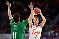 Real Madrid's Luka Doncic and Unicaja Malaga's Dani Diez during semi finals of playoff Liga Endesa match between Real Madrid and Unicaja Malaga at Wizink Center in Madrid, June 02, 2017. Spain.<br /> (ALTERPHOTOS/BorjaB.Hojas)