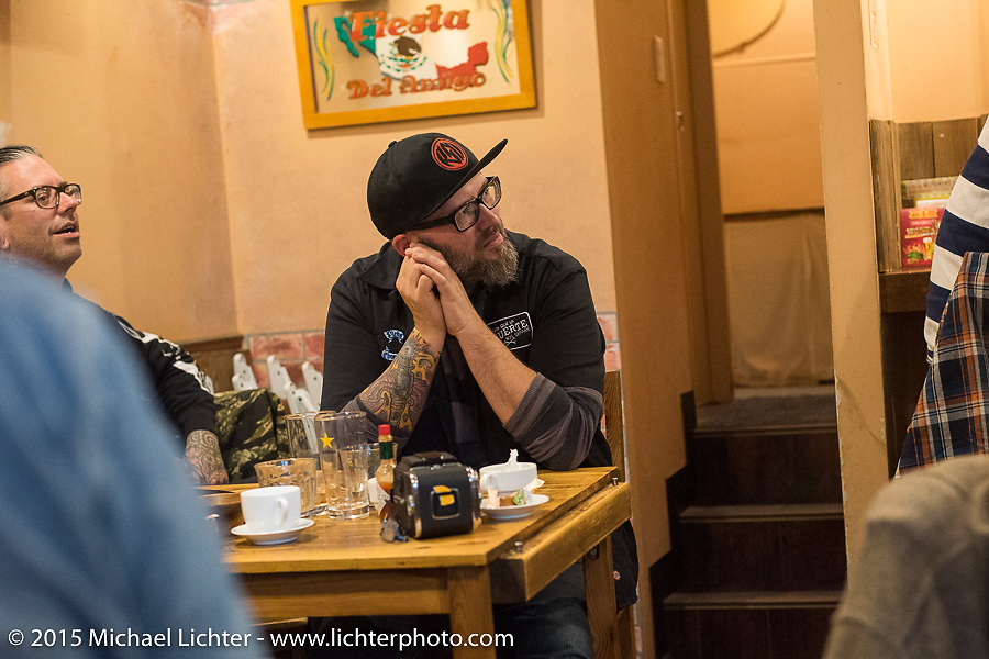 BMW Motorrad Creative Director Ola Stenegard at lunch during a Tokyo shop tour after Mooneyes. Japan. December 8, 2015.  Photography ©2015 Michael Lichter.