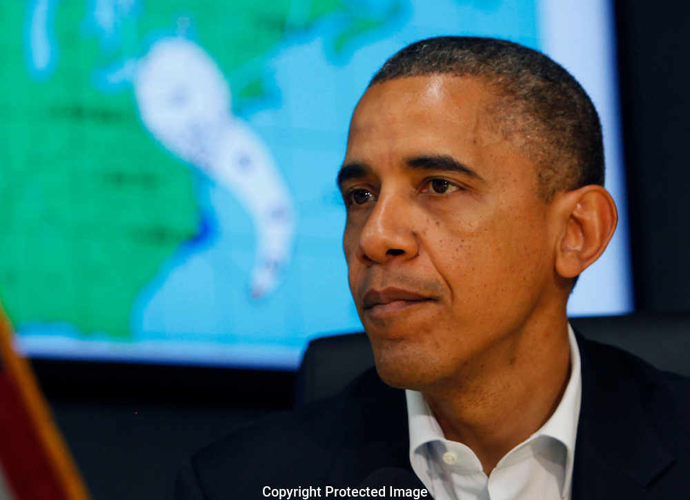 President Barack Obama makes a statement after a briefing on Hurricane Sandy at FEMA Headquarters in Washington, DC on October 28, 2012.  Dennis Brack...