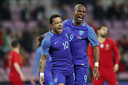(L-R) Memphis Depay of Holland, Ryan Babel of Holland during the International friendly match match between Portugal and The Netherlands at Stade de Genève on March 26, 2018 in Geneva, Switzerland