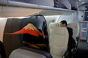 Interior of a Mitsubishi MRJ regional airliner mock-up, exhibited at the Farnborough Air Show, England.