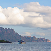 Yacht leaving port near Puerto Escondido. Loreto. Baja California Sur, Mexico.