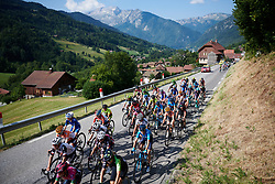 Splits appear in the peloton as the race heads into the mountains at La Course by Le Tour de France 2018, a 112.5 km road race from Annecy to Le Grand Bornand, France on July 17, 2018. Photo by Sean Robinson/velofocus.com