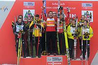 Kombinert<br /> FIS World Cup<br /> Schonau Østerrike<br /> 05.01.2013<br /> Foto: Gepa/Digitalsport<br /> NORWAY ONLY<br /> <br /> FIS Weltcup, Teambewerb, Siegerehrung. Bild zeigt den Jubel von Tino Edelmann (GER), Eric Frenzel (GER), Johannes Rydzek (GER),  Björn Kircheisen (GER/ links), Mikko Kokslien (NOR), Magnus H. Moan (NOR), Håvard Klemetsen (NOR), Joøgen Graabak (NOR/ Mitte), Taylor Fletcher (USA), Bill Demong (USA), Todd Lodwick (USA) und Bryan Fletcher (USA/ rechts).