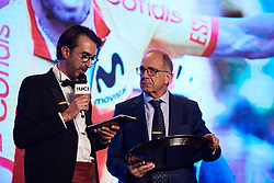 President of the Spanish Cycling Federation receives the award on behalf of Valverde at The UCI Cycling Gala 2018 in Guilin, China on October 21, 2018. Photo by Sean Robinson/velofocus.com
