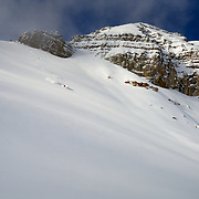 8 years ago I had an avalanche accident. It took me 2 years to physically recover from the event and 5 years to mentally get over it. This season I skied off of Cody for the first time in 3 years--that's a story in itself. I was thinking about Tom Cruise in Days of Thunder. Then I just pushed off dropped the cornice and skied a line to the base of the Powder 8 Face. From there Forrest Jillson and Aurel Baker skinned to the top and were the first to ski the face that day.