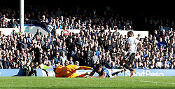 """Everton's Dominic Calvert-Lewin is fouled in the penalty area during the Premier League match at Goodison Park, Liverpool. PRESS ASSOCIATION Photo. Picture date: Saturday September 29, 2018. See PA story SOCCER Everton. Photo credit should read: Peter Byrne/PA Wire. RESTRICTIONS: EDITORIAL USE ONLY No use with unauthorised audio, video, data, fixture lists, club/league logos or """"live"""" services. Online in-match use limited to 120 images, no video emulation. No use in betting, games or single club/league/player publications."""