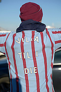 Aston Villa fan wearing 'Villa Till I Die' shirt outside Villa Park before k/o. The FA cup, 6th round match, Aston Villa v West Bromwich Albion at Villa Park in Birmingham, Midlands on Saturday 7th March 2015<br /> pic by John Patrick Fletcher, Andrew Orchard sports photography.