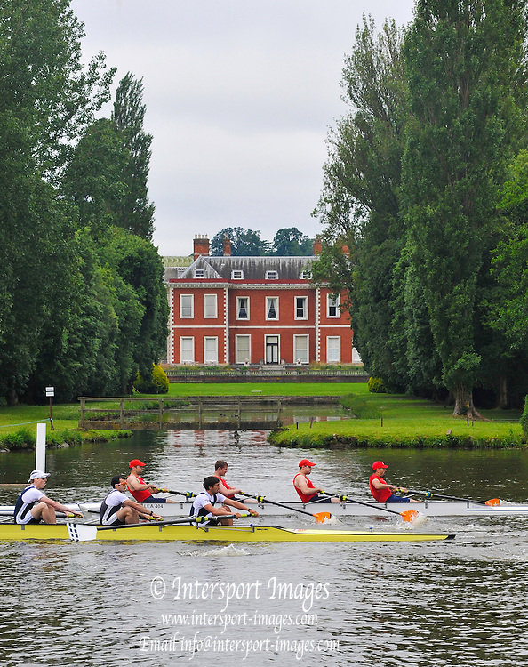 Henley, GREAT BRITAIN, 2012 Henley Royal Regatta, Wyfold Challenge Cup, M4-,  Potomac B C, USA (Bucks)  passing Fawley Court prior to disqualification for clashing with London RC (Berks). Wednesday  08:44:12  27/06/2012 [Mandatory Credit, Intersport Images]. ..Rowing Courses, Henley Reach, Henley, ENGLAND . HRR