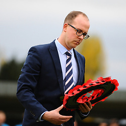 TELFORD COPYRIGHT MIKE SHERIDAN 3/11/2018 - AFC Telford head of football operations Luke Shelley lays a poppy wreath during a remembrance ceremony prior to the Vanarama Conference North fixture between Alfreton Town vs AFC Telford United.
