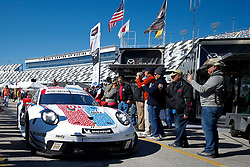 January 25, 2019 - Daytona, FL, U.S. - DAYTONA, FL - JANUARY 25: The #911 Porsche GT Team Porsche 911 RSR of Patrick Pilet, Nick Tandy, and Frederic Makowiecki rolls through the garage area following practice for the Rolex 24 at Daytona on January 25, 2019 at Daytona International Speedway in Daytona Beach, Fl. (Photo by David Rosenblum/Icon Sportswire) (Credit Image: © David Rosenblum/Icon SMI via ZUMA Press)