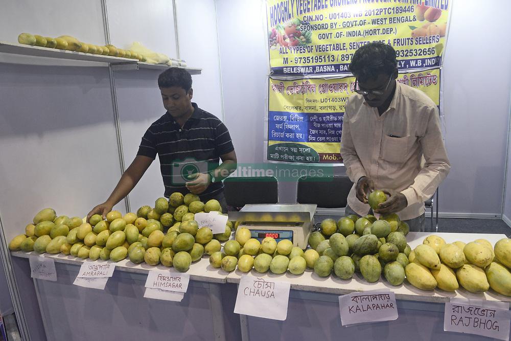 June 15, 2017 - Kolkata, West Bengal, India - Seller sorted mangoes at Bengal Mango Festival.The West Bengal Food Processing Industry Department and Horticulture Department organized The Bengal Mango Utsav 2017 at Milan Mela. (Credit Image: © Saikat Paul/Pacific Press via ZUMA Wire)