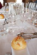 table set with glasses for tasting bread chateau la garde pessac leognan graves bordeaux france