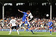Danny Ward of Cardiff City (C) scores his team's first goal. EFL Skybet football league championship match, Fulham v Cardiff city at Craven Cottage in London on Saturday 9th September 2017.<br /> pic by Steffan Bowen, Andrew Orchard sports photography.