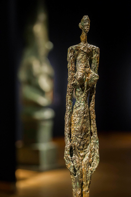 Femme de Venise V by Alberto Giacometti - Christie's Impressionist, Modern and Surrealist Art pre-sale exhibition ahead of the Evening sale on 4 February. Highlights include: Cézanne's Vue sur L'Estaque et Le Château d'If, from the collection of Samuel Courtauld, which is coming to the market for the first time since it was acquired 79 years ago, in 1936 (estimate: £8-12 million); The most valuable group of Surrealist art ever to be offered at auction, featuring a group of works by Magritte and Miró, led by Joan Miró's L'oiseau au plumage déployé vole vers l'arbre argenté, 1953, from a Distinguished European Collection (estimate: £7-9 million); Amedeo Modigliani's rare double portrait Les deux filles, 1918 (estimate: £6-8 million); Femme de Venise V by Alberto Giacometti (estimate: £6-8 million); Juan Gris's La Lampe, 1914, which is considered to be among the artist's greatest contributions to Cubism (estimate: £2.5-3.5 million); Paysage à L'Estaque, 1907, by Georges Braque (estimate: £2-3 million); An important group of German works from the collection of industrial chemist Carl Hagemann, representing three of the four founding artists of the Die Brücke movement, led by one of the masterpieces of Die Brücke art: Badende am Waldteich by Erich Heckel, along with key works by Ernst Ludwig Kirchner and Karl Schmidt-Rottluff; and other important works by Chagall, Moore, Picabia, Arp, Ernst, Tanguy and Dominguez. The auction has a total pre-sale estimate of £92.8 million-£133.8 million. Christie's, King Street, London, UK.