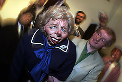 Sothebys to sell cast of satirical TV show Spitting Image. Photo shows Maggie Thatcher with Steve Nallon who did Thatchers voice in the show, July 7, 2000. Photo by Andrew Parsons / i-images.