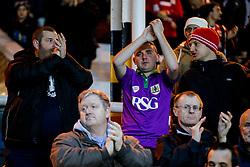 Bristol City fans cheer as the teams run out before kickoff - Photo mandatory by-line: Rogan Thomson/JMP - 07966 386802 - 28/11/2014 - SPORT - FOOTBALL - Peterborough, England - ABAX Stadium - Peterborough United v Bristol City - Sky Bet League 1.