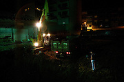 Late night construction at a building site in central Tirana