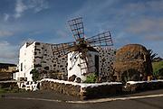 Traditional buildings and windmill, Villaverde village near Oliva, Fuerteventura, Canary Islands, Spain