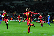 Gareth Bale of Wales celebrates after he scores opening goal from a penalty. FIFA World cup 2014 qualifier, group A , Wales v Croatia at the Liberty Stadium in Swansea, South Wales on Tuesday 26th March 2013. pic by Andrew Orchard, Andrew Orchard sports photography,