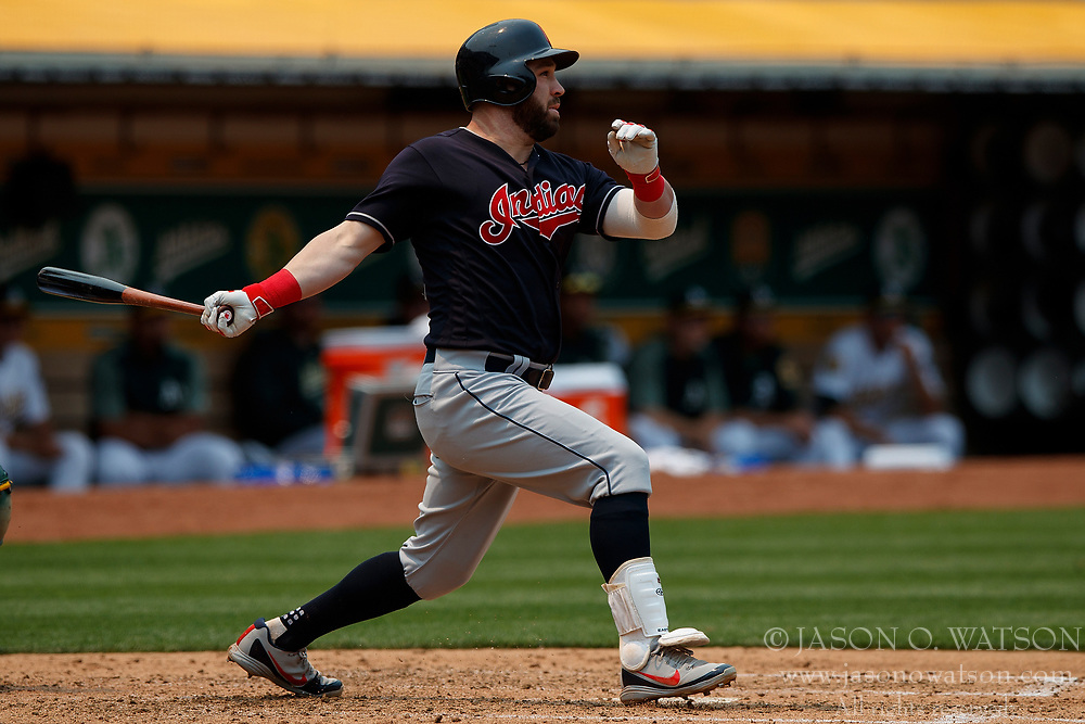 OAKLAND, CA - JULY 01:  Jason Kipnis #22 of the Cleveland Indians at bat against the Oakland Athletics during the fourth inning at the Oakland Coliseum on July 1, 2018 in Oakland, California. The Cleveland Indians defeated the Oakland Athletics 15-3. (Photo by Jason O. Watson/Getty Images) *** Local Caption *** Jason Kipnis