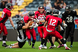 East Kilbride Pirates running back is tackled - Mandatory by-line: Jason Brown/JMP - 27/08/2016 - AMERICAN FOOTBALL - Sixways Stadium - Worcester, England - Kent Exiles v East Kilbride Pirates - BAFA Britbowl Finals Day