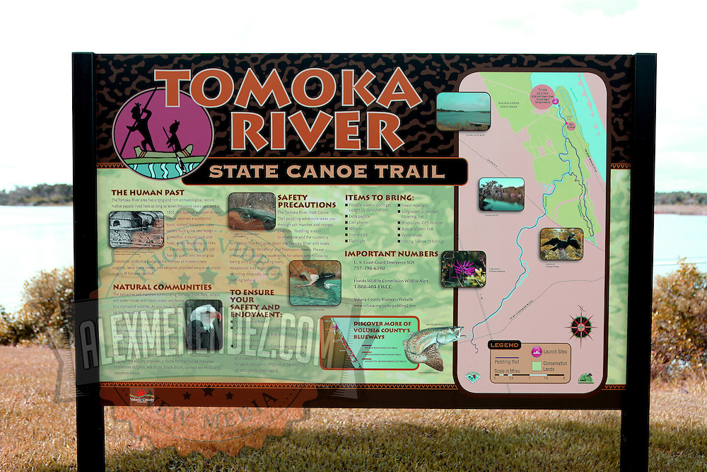 Tomoka River signage along the Ormond Beach Loop in Ormond Beach, Florida. (AP Photo/Alex Menendez) Florida scenic highway photos from the State of Florida. Florida scenic images of the Sunshine State.