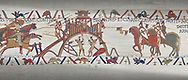 Bayeux Tapestry scene 20: Conan Duke of Britany surrender Dinan, city keys on end of his lance, to Duke William. .<br /> <br /> If you prefer you can also buy from our ALAMY PHOTO LIBRARY  Collection visit : https://www.alamy.com/portfolio/paul-williams-funkystock/bayeux-tapestry-medieval-art.html  if you know the scene number you want enter BXY followed bt the scene no into the SEARCH WITHIN GALLERY box  i.e BYX 22 for scene 22)<br /> <br />  Visit our MEDIEVAL ART PHOTO COLLECTIONS for more   photos  to download or buy as prints https://funkystock.photoshelter.com/gallery-collection/Medieval-Middle-Ages-Art-Artefacts-Antiquities-Pictures-Images-of/C0000YpKXiAHnG2k