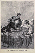 By the Dying Man's Bedside from the book ' Mistress Branican ' by Jules Verne, illustrated by Leon Benett. The story begins in the United States, where the heroine, Mistress Branican, suffers a mental breakdown after the death by drowning of her young son. On recovering, she learns that her husband, Captain Branican, has been reported lost at sea. Having acquired a fortune, she is able to launch an expedition to search for her husband, who she is convinced is still alive. She leads the expedition herself and trail leads her into the Australian hinterland. Mistress Branican (French: Mistress Branican, 1891) is an adventure novel written by Jules Verne and based on Colonel Peter Egerton Warburton and Ernest Giles accounts of their journeys across the Western Australian deserts, and inspired by the search launched by Lady Franklin when her husband Sir John Franklin was reported lost in the Northwest Passage. Translated by A. Estoclet, Published in New York, Cassell Pub. Co. 1891.