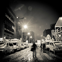 Brussels, Belgium 16 December 2010<br /> View of satellite cars under the snow outside the building where the European Union summit took place.<br /> Photo: Ezequiel Scagnetti