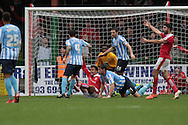 Swindon Town striker Nicky Ajose appeals for a penalty during the Sky Bet League 1 match between Swindon Town and Coventry City at the County Ground, Swindon, England on 24 October 2015. Photo by Jemma Phillips.