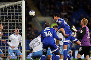 Cardiff City's Sean Morrison (4) heads at goal but his header is cleared off the line. EFL Skybet championship match, Cardiff city v Sheffield Wednesday at the Cardiff city stadium in Cardiff, South Wales on Wednesday 19th October 2016.<br /> pic by Carl Robertson, Andrew Orchard sports photography.