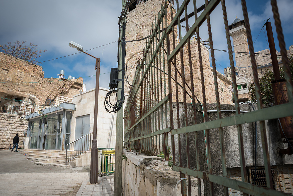 2 March 2020, Hebron: The Tomb of the Patriarchs, known to the Muslims as Al-Ibrahimi Mosque, and the Jews as Cave of Machpelah, which has been divided by Israeli authorities into part mosque (left), part synagogue (right). The site is known as the site for the Hebron massacre in 1994, in which an Israeli settler killed 29 Muslims.