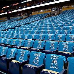 April 28, 2011; New Orleans, LA, USA; T-shirts await fans in the stands before game six of the first round of the 2011 NBA playoffs between the New Orleans Hornets and the Los Angeles Lakers at the New Orleans Arena.    Mandatory Credit: Derick E. Hingle