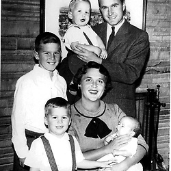 HS379     Bush family portrait - George H. holding Neil, George W., Jeb, and Barbara holding Marvin, 1956.<br /> Photo Credit:  George Bush Presidential Library
