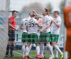 Hibernian's players cele Hibernian's Dominique Malonga goal. <br /> Falkirk 0 v 3 Hibernian, Scottish Championship game played at The Falkirk Stadium 2/5/2015.