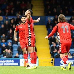 TELFORD COPYRIGHT MIKE SHERIDAN 16/2/2019 - Brendan Daniels of AFC Telford celebrates after scoring to make it 2-2 during the Vanarama Conference North fixture between Stockport County and AFC Telford United at Edgeley Park