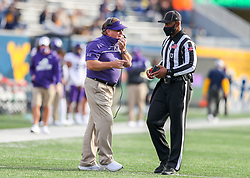 Nov 14, 2020; Morgantown, West Virginia, USA; TCU Horned Frogs head coach Gary Patterson talks to an official during the third quarter against the West Virginia Mountaineers at Mountaineer Field at Milan Puskar Stadium. Mandatory Credit: Ben Queen-USA TODAY Sports