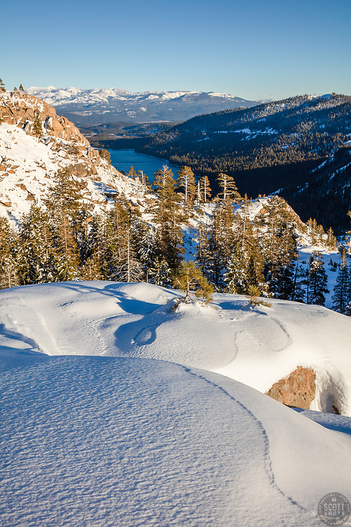 """""""Snow Above Donner Lake 1"""" - This late afternoon snowy scene was photographed above Donner Lake and Truckee, California."""
